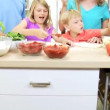 Family preparing together homemade pizza — Stock Video #50340335