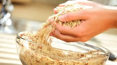 Bowl Healthy Dry Cereal Grains Hands Close Up — Stock Video