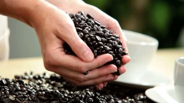 Fresh Coffee Beans Pouring Onto White Table Female Hands — Stock Video