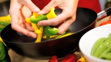 Fresh Organic Stir Fried Vegetables Close Up Hands — Stock Video