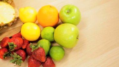 Organic Pineapple Fruit Prepared Caucasian Female Hands — Stock Video