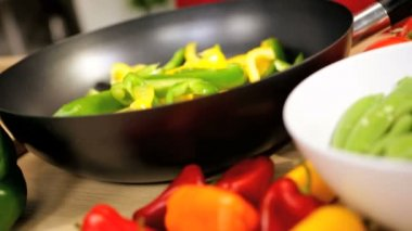 Close Up Healthy Lifestyle Stir Fry Cooking — Stock Video