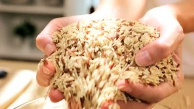 Close Up Bowl Healthy Dry Cereal Grains Staple World Food — Stock Video