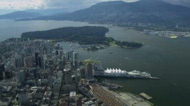 Aerial landscape view over Vancouver Harbour Canada Place — Wideo stockowe