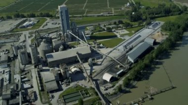Aerial view commercial Industrial Plant, Vancouver — Stock Video