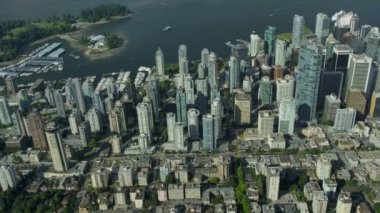 Aerial shoreline view Downtown Vancouver city — Stock Video