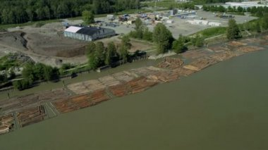 Aerial view of river logs timbered from local forests, Vancouver, — Stock Video