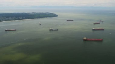 Aerial view of Container Ships and Bulk Carriers, Vancouver — Stock Video