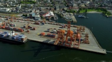 Aerial view Vancouver harbour Container Port — Stock Video