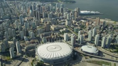 Aerial view city skyscrapers BC Place Stadium, Vancouver — Stock Video
