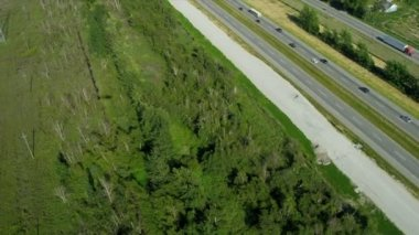 Aerial view of transport on Trans Canada Highway — Stock Video