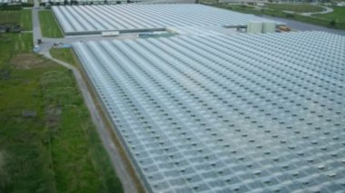 Agricultural greenhouses near highway in Vancouver — Stockvideo
