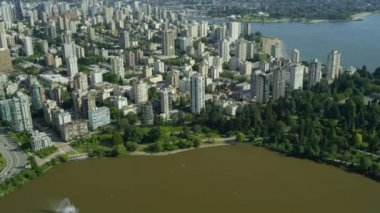 Aerial view Vancouver city buildings, Stanley Park — Stock Video