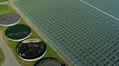 Aerial view environmentally commercial greenhouses, Vancouver — Stock Video