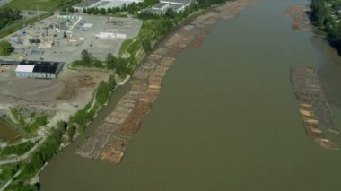 Aerial view of log boom Fraser River, Vancouver — Стоковое видео