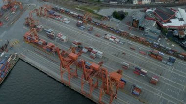 Aerial view of port in Vancouver, Canada — Stock Video