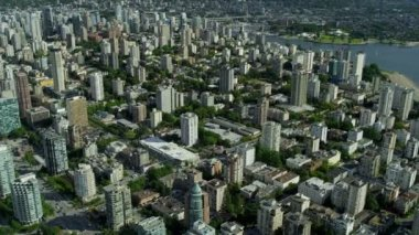 Aerial view Vancouver city offices and residential apartments — Stock Video