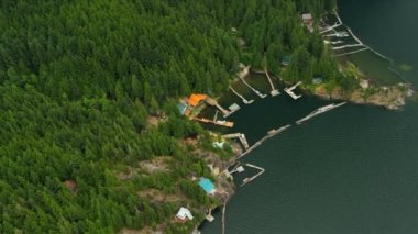 Aerial view remote cabins on Harrison Lake a freshwater lake, Rockies, Canada — Stock Video