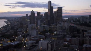 Aerial downtown sunset view Seattle office skyscrapers,  USA — Stock Video