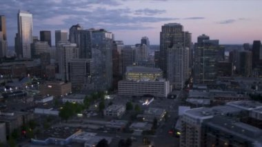 Aerial Skyscraper view  Downtown Seattle Cosmopolitan City, USA — Stock Video