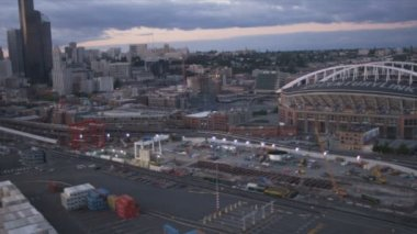 Aerial view CenturyLink Field and Baseball Stadium and docks Seattle, USA — Stock Video
