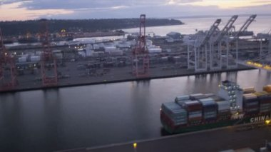 Aerial view Harbor Island and Oil storage tanks, Seattle, USA — Stock Video