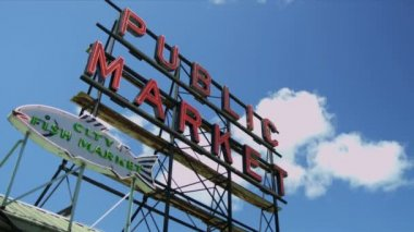 Public Market Centre famous fish market, Seattle, USA — Stock Video
