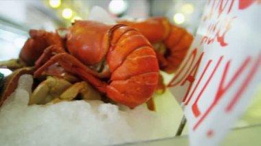 新鲜龙虾矛鱼市场西雅图,美国 — 图库视频影像