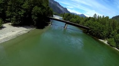 Aerial view river valley bridge spruce forest, Canada — Stock Video