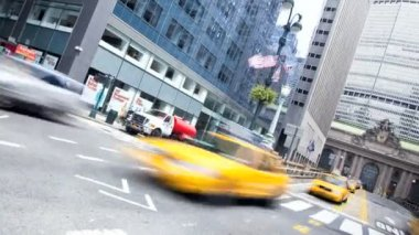 Yellow taxi cabs, New York, USA, Time lapse — Stock Video