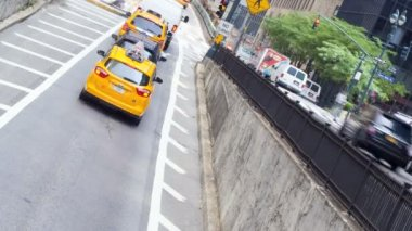 Yellow taxi cabs, New York, USA, time lapse — Vidéo