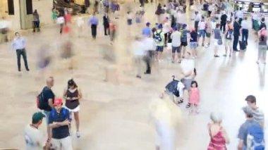 Grand Central Terminal rail travel USA, Time lapse — Stock Video
