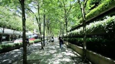 View of city sidewalk City Urban scene downtown — Стоковое видео