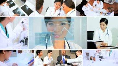 3D video montage medical teamwork patient healthcare — Stock Video