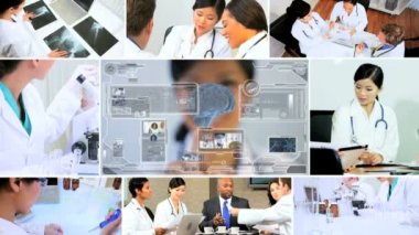 CG video montage Asian scientist using technology for future — Stock Video