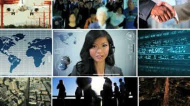 3D video montage Asian business travel managers technology — Stock Video