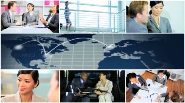 CG video montage Multi ethnic business wireless technology — Stock Video