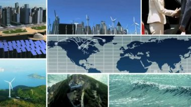 CG video montage environmental Asian business renewable energy — Stock Video