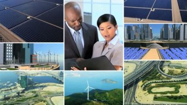 CG video montage Asian African American energy business — Stock Video