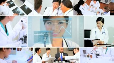 CG video montage medical researchers in laboratory — Stock Video