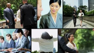 Video montage business managers focus strategy — Stock Video