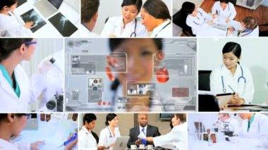 3D video montage scientist technology medical research — Vídeo de stock