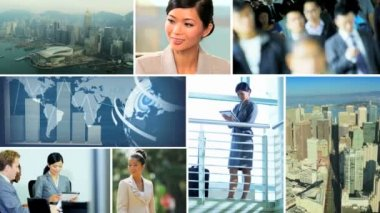 Video montage business travel managers Hongkong — Stock Video