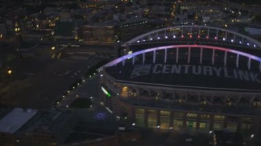 Aerial illuminated view CenturyLink Field, Safeco Field Baseball Stadium, Seattle, USA — Stock Video