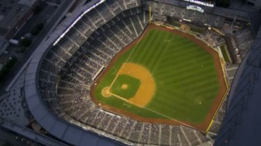 Aerial dusk view Safeco Field Baseball Stadium, Seattle, USA — Stock Video