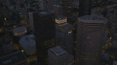 Aerial dusk view of illuminated downtown Seattle Business offices, USA — Stock Video