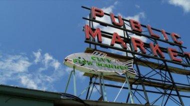 公共市场中心著名的鱼市场,西雅图,美国 — 图库视频影像