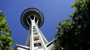 Space Needle and Observatory, Seattle, USA — Stock Video