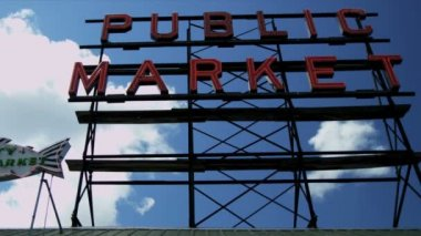 Public Market Centre famous fish market, Seattle, USA — Vidéo