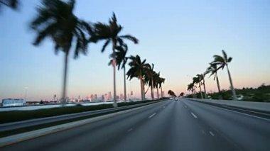 Driving on MacArthur Causeway — Stock Video